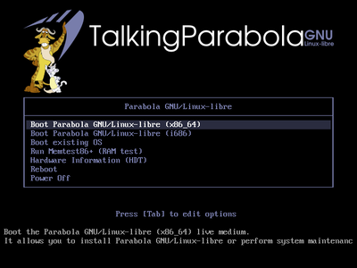 Parabola Talking Edition GRUB screenshot