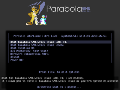 Parabola SystemD Edition GRUB screenshot