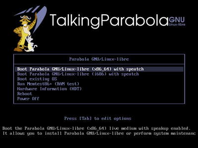 Parabola Talking Edition GRUB screen-shot